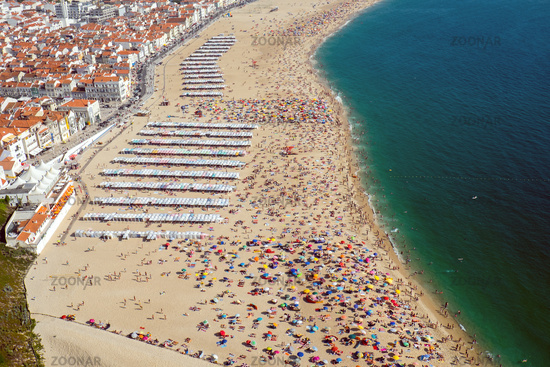 Beach life seen in Nazare at the portuguese Atlant