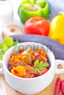 baked meat and vegetables