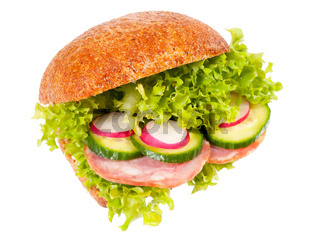 sandwich of graham roll with vegetables mix