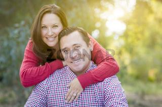 Attractive Caucasian Couple Portrait Outdoors