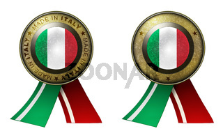 Set of 2 Italy seals Made in message and blank