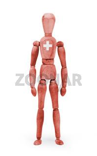 Wood figure mannequin with flag bodypaint - Switzerland