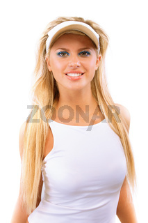 Portrait of girl with sun-protection peak on head
