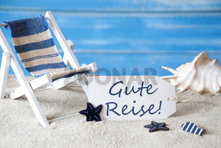 Summer Label With Deck Chair, Gute Reise Means Good Trip