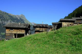 Almhuetten, Garneratal, Ganeumaisaeß, Montafon, Vorarlberg, Oes