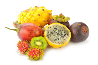 tropical fruits isolated on a white background