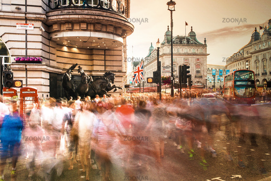 Crowd of people crossing road, Picadilly Circus, London, United Kingdom