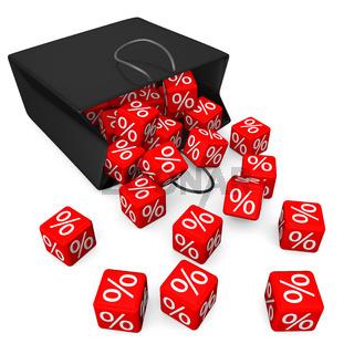 Black Shopping Bag Red Percent Cubes