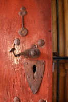 Old Door with Historic Metal Fittings and Handle
