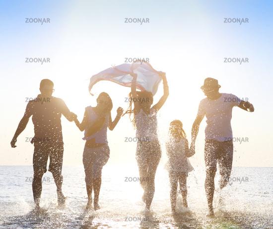 Happy friends сelebration beach party summer