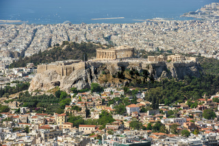 Cityscape of modern Athens, Greece