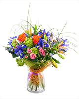 Flower bouquet from roses, iris and statice flowers.