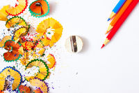varicolored pencil, shavings and sharpener