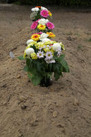 Flower vases on a fresh burial mound