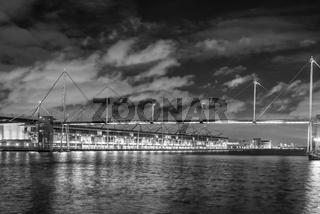 Royal Victoria Dock Footbridge and Excel Centre, London, UK