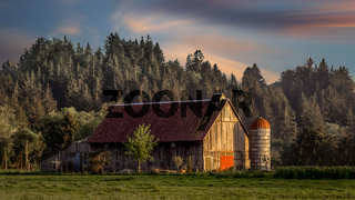 Sunset at the farm, Color Image