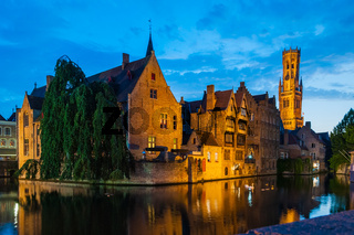 Night scene of Rozenhoedkaai and Belfort Tower in Brugge Belgium