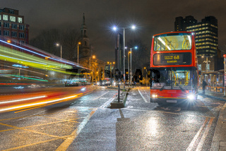 Night Busses at Waterloo, London, United Kingdom