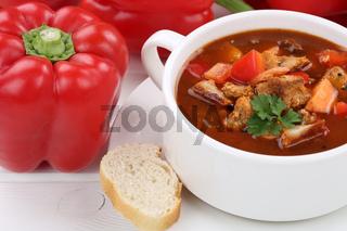 Gulasch Suppe Gulaschsuppe Suppentasse mit Fleisch und Paprika Nahaufnahme