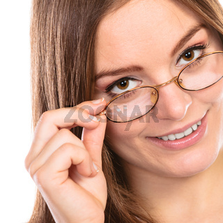 Woman face in glasses isolated
