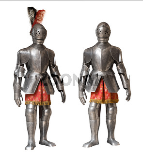 two knight armour suits, isolated
