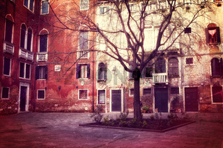 Retro style photo of small square in Venice