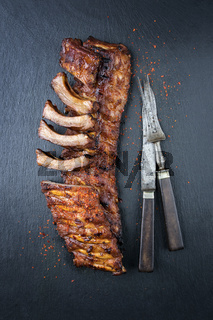 Barbecue Spare Ribs on Black Background