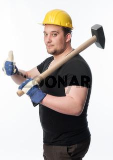 handwerker mit vorschlaghammer zeigt daumen hoch