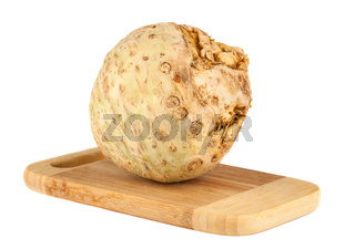 Celery root on chopping board