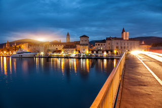 Old coastal town Trogir in Croatia at night