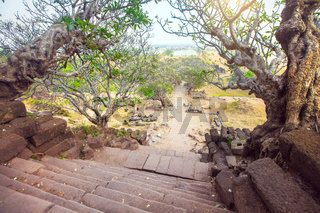 Stairway to the Wat Phu Champasak in Laos
