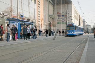 Tram approaching shopping centre tram stop