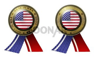 Set of 2 USA seals Made in message and blank