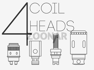 4 thin lines coil heads set