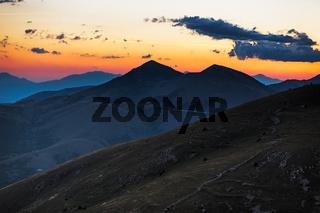 Dusk in Abruzzo mountains near Rocca Calascio, Italy