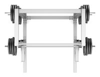 top view of gym half rack with barbell isolated
