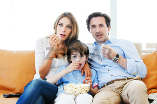 family watching movie