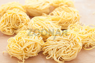 Pasta typical of Piedmont called tajarin