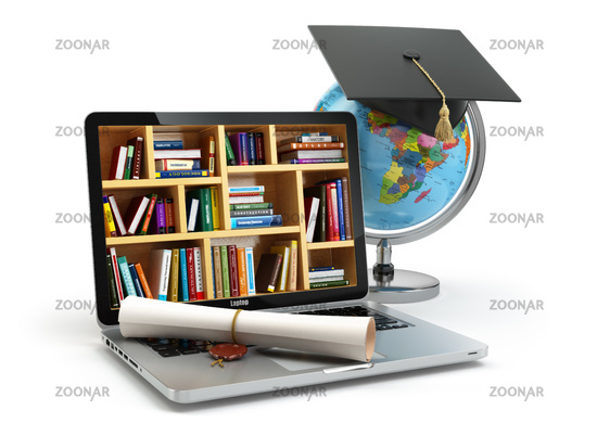 Education concept. Laptop with books, globe, graduation cap and diploma.