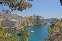 Dubrovnik, view to the city wall