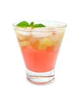 Lemonade with rhubarb and mint in glass