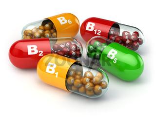 Vitamin B. Capsules B1 B2 B6 B12 on white isolated background.