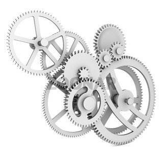 3d detailed metallic gears