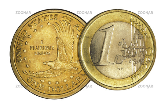 Euro coin and Dollar coin isolated