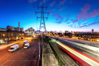 Trains  and Pylons,  Customs House, Docklands, London, United Kingdom