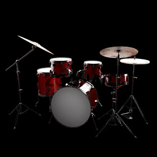 drum set in the dark studio