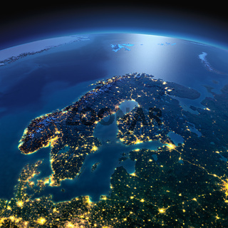Detailed Earth. Europe. Scandinavia on a moonlit night