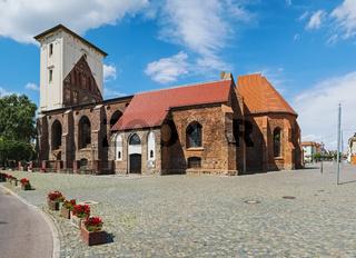 Marienkirche am Marktplatz in Wriezen, Brandenburg, Deutschland