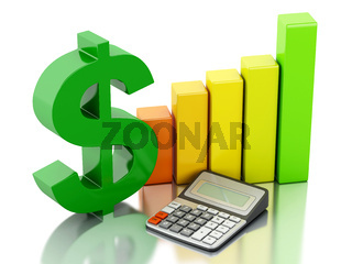 3d Financial business, bar graph and dollar sign.