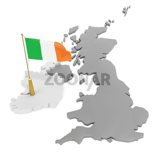 3d flag pole of the country with borders form
